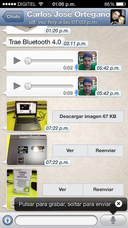 Grabar y enviar mensajes de voz por Whatsapp