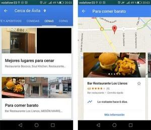 cómo buscar lugares para comer en Google Maps