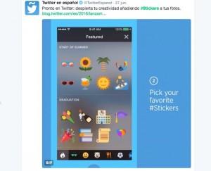 agregar stickers en fotos de Twitter